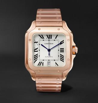 Cartier Santos Automatic 39.8mm 18-Karat Pink Gold Interchangeable Alligator Watch, Ref. No. Wgsa0007