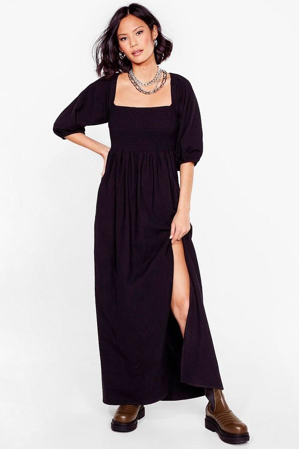 Nasty Gal Womens Shirred Puff Sleeve Maxi Slit Dress - Black - 4