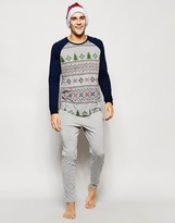 Asos Loungewear Set With Christmas Fair Isle Print - Grey
