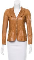 Gucci Leather Ruffle-Trimmed Jacket
