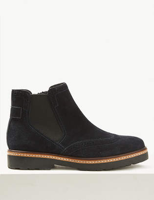 Marks and Spencer Wide Fit Suede Brogue Chelsea Ankle Boots
