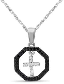 Silver Cross Jewelersclub JewelersClub 1/7 Carat T.W. Black And White Diamond Sterling Octagon Pendant