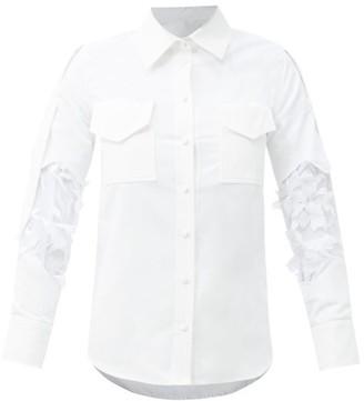 Thebe Magugu Floral-applique Mesh Insert Cotton-poplin Shirt - White
