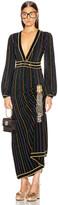 Gucci Long Sleeve V Neck Dress in Black & Multicolor | FWRD