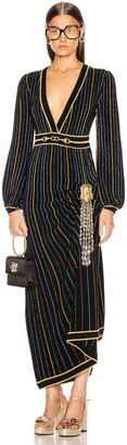 Gucci Long Sleeve V Neck Dress in Black & Multicolor | FWRD