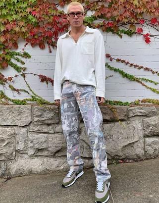 Jaded London washed graffiti mash up skate jeans in multi