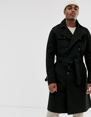 Asos Design DESIGN double breasted trench in black