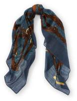 Ralph Lauren Bridle-Print Wool Scarf Blue One Size