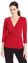 Ellen Tracy Women's 3/4 Sleeve Twist Top