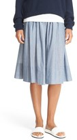 Vince Shirred Stripe Full Cotton Skirt