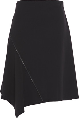 DKNY Asymmetric Zip-embellished Crepe Skirt