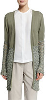 Neiman Marcus Textured-Block Duster Cardigan