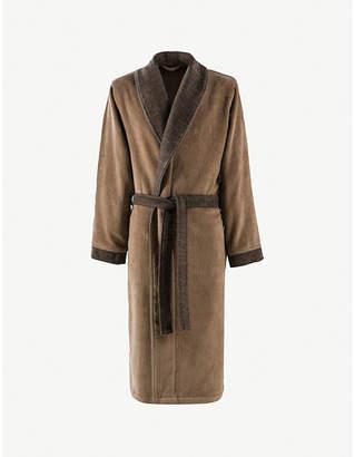 BOSS Lord logo-embroidered cotton-velour bathrobe