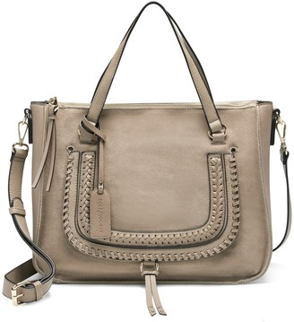 Sole Society Women's Destin Satchel Vegan Studded Whipstich In Color: Light Taupe Bag Vegan Leather From