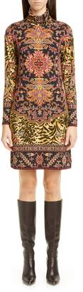 Etro Animal Print Long Sleeve Jersey Turtleneck Dress