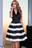 Jovani V Neck Cocktail Dress with Stripe Skirt 99434