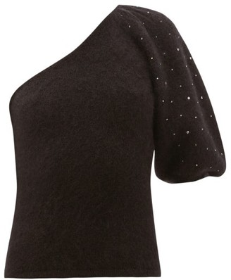 JoosTricot Beaded One-sleeve Mohair-blend Sweater - Black