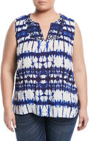 NYDJ Embroidered Tie-Dye Blouse, Plus Size