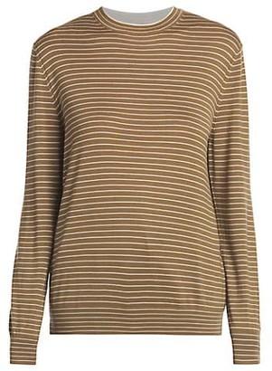 Loro Piana Fontvieille Thin Stripe Cashmere & Silk Crewneck Sweater