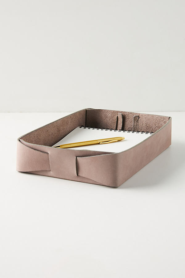 Dax Leather Desk Tray By Anthropologie in Purple