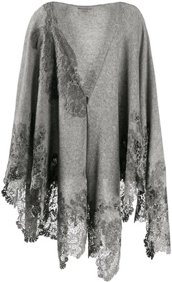 Ermanno Scervino Lace Trim Shawl Cardigan