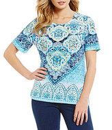 Allison Daley Petites Crew Neck Printed Embellished Knit Top