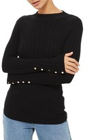 Topshop Women's Snap Sleeve Ribbed Sweater