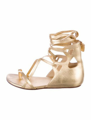 Chanel Metallic Leather Sandals Gold