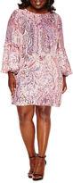 Boutique + + 3/4 Sleeve A-Line Dress-Plus