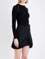 Thierry Mugler Embellished ribbed stretch-knit top
