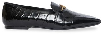 Burberry Almerton Croc-Embossed Leather Loafers