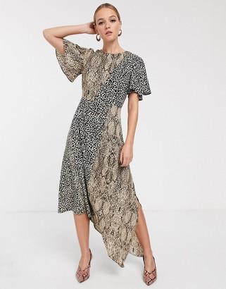 Glamorous asymmetric midaxi dress in animal print mix-Multi