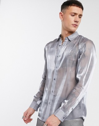 ASOS DESIGN regular fit silver high shine shirt