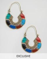 Reclaimed Vintage Handmade Rainbow Brass Hoop Earrings