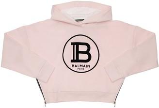 Balmain Cropped Sweatshirt Hoodie W/ Flock Print
