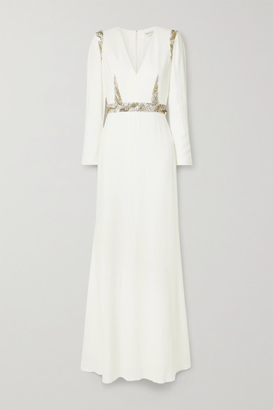 Alexander McQueen Embellished Crepe Gown - Ivory