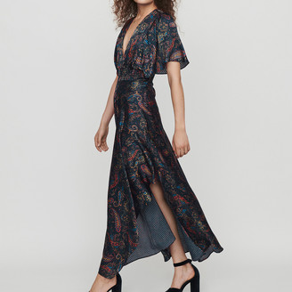 Maje Burn-out-printed scarf smock dress