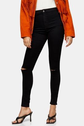 Topshop TALL Black Rip Joni Jeans