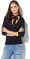 New York & Co. 7th Avenue - Tie Neck Chelsea Cardigan