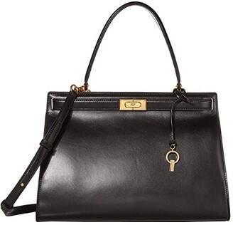 Tory Burch Lee Radziwill Large Satchel (Black) Handbags