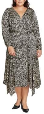 Vince Camuto Plus Size Printed Faux-Wrap Dress