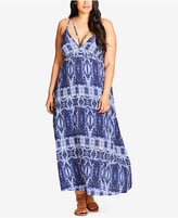 City Chic Trendy Plus Size Batik-Print Maxi Dress