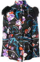 Emilio Pucci fur-trim floral coat - women - Polyester/Lamb Fur/Duck Feathers - 44