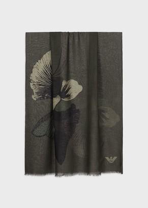 Emporio Armani Floral Print, Virgin Wool Scarf