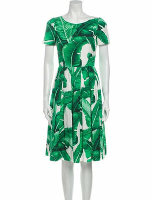Dolce & Gabbana Printed Knee-Length Dress Green