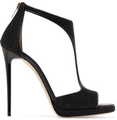 Jimmy Choo Lana Embellished Satin Sandals - Black