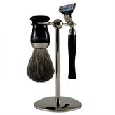 Jagger 3-Piece Ebony Nickel Plated Mach 3 Shaving Set by Edwin