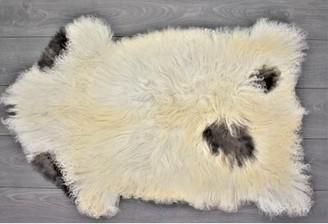 "Cales Animal Print Handmade 2'3"" x 3'6"" Sheepskin Cream/Brown Indoor / Outdoor Area Rug Millwood Pines"