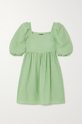 Stine Goya Marine Striped Satin-jacquard Mini Dress - Green