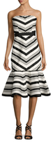 Alexis Kirsten Striped Flounce Midi Dress